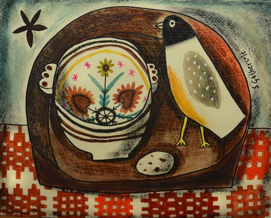 Breton Bowl and Felt Bird - Susan Gathercole