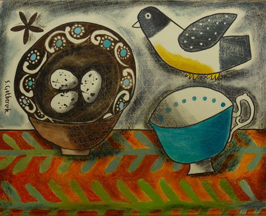 French Country Dish and Felt Bird - Susan Gathercole