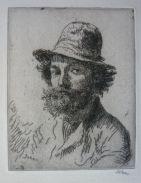 Portrait of the Artist: Bust, in a hat, with untidy hair and beard