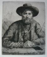 Portrait of the Artist: in a hat, etching