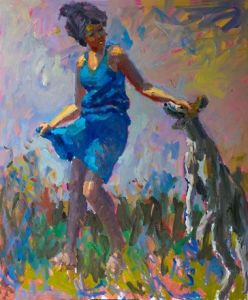 English Pointer on a Welsh Hillside with Classical Nymph - Kevin Sinnott